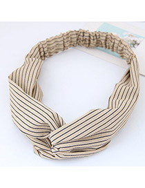 Fashion Beige Stripe Pattern Decorated Simple Wide Hair Band