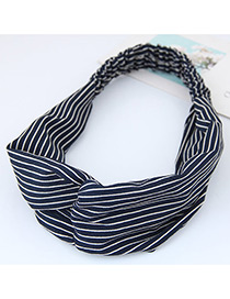 Fashion Blue Stripe Pattern Decorated Simple Wide Hair Band