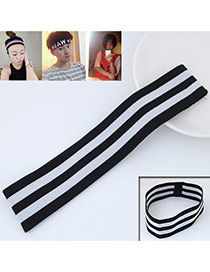 Personality Black Stripe Pattern Decorated Simple Wide Hair Band