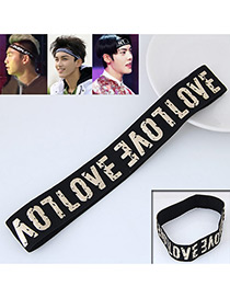 Personality Black +white Letter Pattern Decorated Simple Wide Hair Band