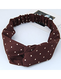 Fashion Brown Round Dot Decorated Simple Wide Hair Band