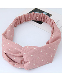 Fashion Pink Round Dot Decorated Simple Wide Hair Band