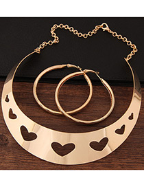 Fashion Gold Color Heart Shape Decorated Pure Color Hollow Out Jewelry Sets