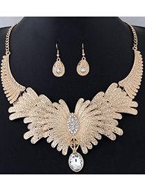 Fashion Gold Color Oval Shape Diamond Decorated Flower Shape Jewelry Sets