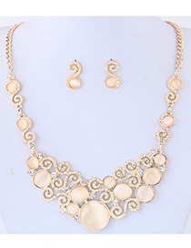 Trendy Beige Round Shape Diamond Decorated Hollow Out Simple Jewelry Sets
