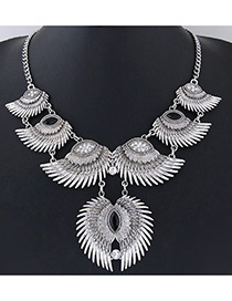 Exaggerated Silver Colo+black Wings Shape Decorated Color Matching Simple Necklace