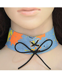 Fashion Multi-color Color Matching Decorated Bowknot Design Width Choker