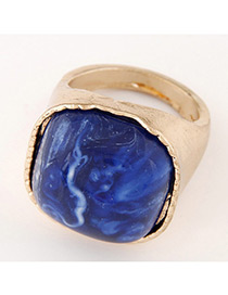 Fashion Gold Color+blue Square Shape Gemstone Decorated Color Matching Ring