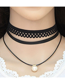 Trendy Black Pearl Decorated Pure Color Multi-layer Lace Necklace