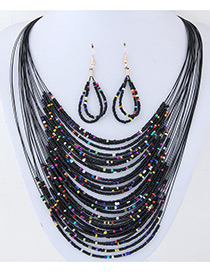 Bohemia Black Round Shape Decorated Simple Multilayer Jewelry Sets