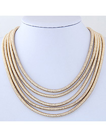 Elegant Gold Color Pure Color Decorated Multiayer Short Chain Necklace