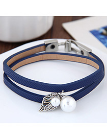 Lovely Blue Metal Leaf &round Shape Decorated Simple Double Layer Bracelet