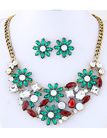Fashion Multi-color Flower Shape Decorated Simple Short Chain Jewelry Sets
