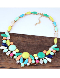 Fashion Multi-color Color-matching Decorarted Simple Short Chain Necklace