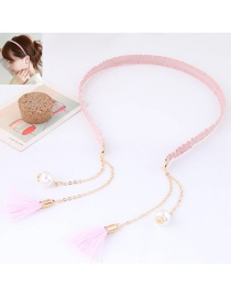 Elegant Pink Long Tassel Pendant Decorated Color Matching Hair Clasp