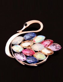 Elegant Multi-color Oval Shape Diamond Decorated Color Matching Swan Shae Brooch