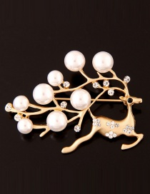 Fashion Gold Color Pearls&diamond Decorated Deer Shape Simple Brooch