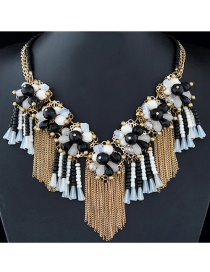 Trendy Black+white Long Tassel Pendant Decorated Color Matching Necklace