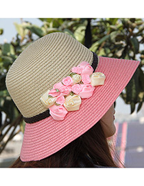 Elegant Pink+beige Flowers Decorated Color Matching Sunshade Beach Hat