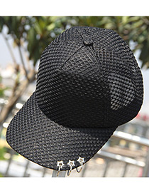 Fashion Black Pure Color Decorated Simple Sunshade Sport Cap