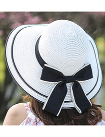 Fashion White Bowknot Decorated Pure Color Sunshade Beach Hat