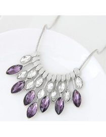 Trendy Purple+white Oval Shape Dimond Decorated Color Matching Necklace