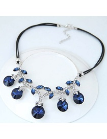 Trendy Sapphire Blue Round Shape Diamond Decorated Color Matching Necklace