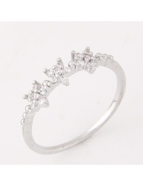Elegant Silver Color Flower Decorated Pure Color Simple Ring