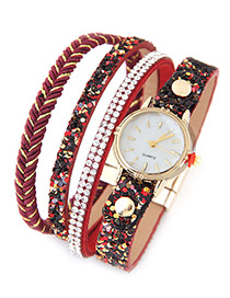 Trendy Red Diamond Decorated Round Dail Multi-layer Simple Watch