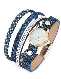 Trendy Blue Diamond Decorated Round Dail Multi-layer Simple Watch