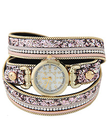 Elegant Light Purple Diamond Decorated Round Dail Multi-layer Simple Watch