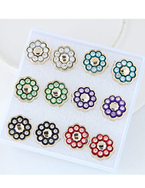 Trendy Mutlti-color Flower Decorated Mutli-color Simple Earrings(6pcs)