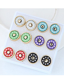 Trendy Mutlti-color Round Shape Diamond Decorated Mutli-color Earrings(6pcs)