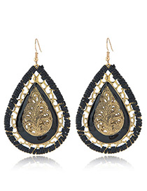 Fashion Black Water Drop Shape Pendant Decorated Hollow Out Design Earrings