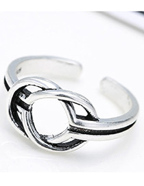 Fashion Antique Silver Circular Rings Decorated Pure Color Opening Ring