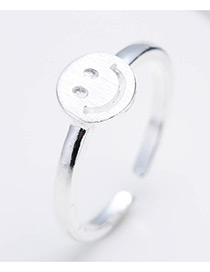 Fashion Silver Color Smiling Face Decorated Pure Color Opening Ring