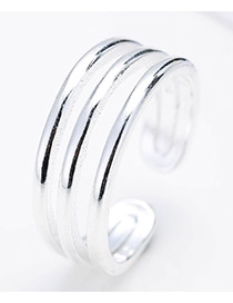 Personalized Silver Color Pure Color Decorated Multi-layer Design Opeing Ring