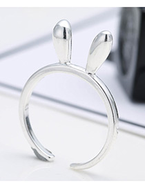 Personalized Silver Color Ears Shape Decorated Pure Color Opening Ring