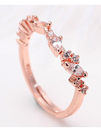 Fashion Rose Gold Diamond Decorated Pure Color Simple Ring