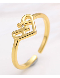 Elegant Gold Color Pure Color Decorated Hollow Out Opening Ring