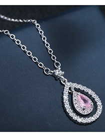 Sweet Silver Color+pink Water Drop Shape Diamond Decorated Color Matching Necklace