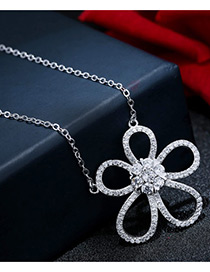 Sweet Silver Color Flower Shape Decorated Pure Color Simple Necklace
