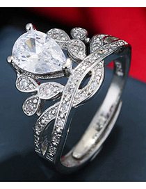 Trendy Silver Color Water Drop Shape Diamond Decorated Crown Shape Simple Ring