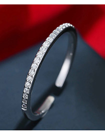 Trendy Silver Color Diamond Decorated Pure Color Opening Ring