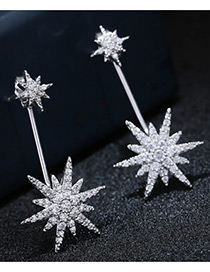 Elegant Silver Color Flower Shape Decorated Pure Color Simple Earrings