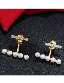 Trendy Gold Color+white Pearl&diamond Decorated Pure Color Simple Earrings