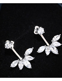 Trendy Silver Color Oval Shape Diamond Decorated Pure Color Simple Earrings