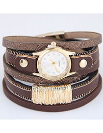 Trendy Coffee Pure Color Decorated Multi-layer Simple Watch