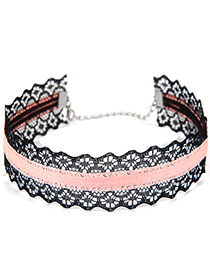 Trendy Pink+black Lace Decorated Color Matching Hollow Out Design Choker