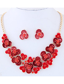 Fashion Red Diamond Decorated Flower Shape Simple Jewelry Set